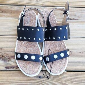 Adrienne Vittadini Black Strapped Studded Sandals